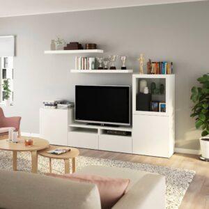 БЕСТО / ЛАКК Шкаф для ТВ, комбинация, белый 240x42x129 см - 093.987.41
