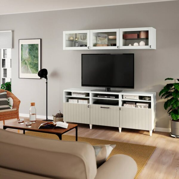 БЕСТО Шкаф для ТВ, комбин/стеклян дверцы, белый Суттервикен/серо-бежевый прозрачное стекло 180x42x192 см - 193.847.91