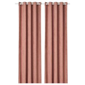 БИРТНА Гардины, блокирующие свет, 1 пара, светло-розовый 145x300 см - 504.807.66