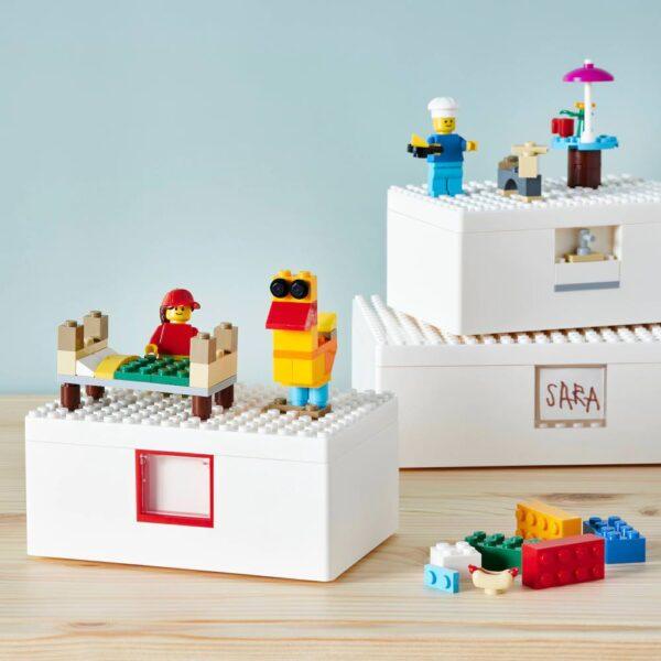 БЮГГЛЕК LEGO® контейнер с крышкой, 3 шт., белый - 604.534.04