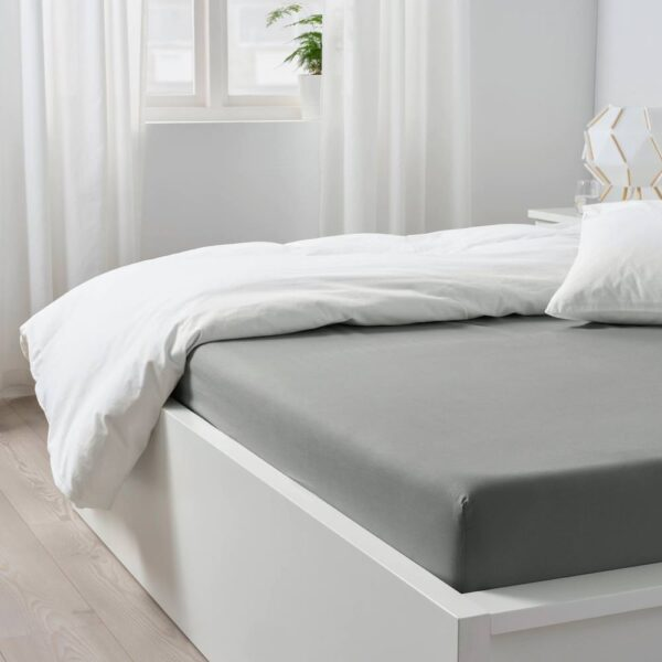 ДВАЛА Простыня натяжная, светло-серый 180x200 см - 304.824.55