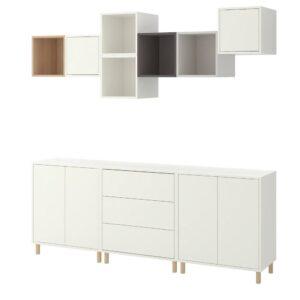 ЭКЕТ Комбинация шкафов с ножками, белый/под беленый дуб светло-серый/темно-серый 210x35x210 см - 693.861.32