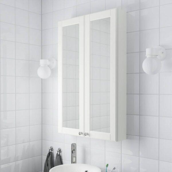 ГОДМОРГОН Зеркальный шкаф с 2 дверцами, Кашён белый 60x14x96 см - 904.858.99