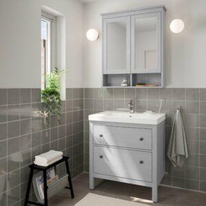 ХЕМНЭС / ОДЕНСВИК Комплект мебели для ванной,4 предм., серый/ВОКСНАН смеситель 83 см - 093.899.68