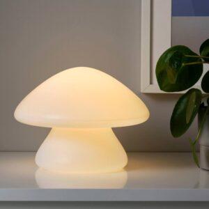 ХЁСТФЕСТ Декоративная подсветка, светодиоды, с батарейным питанием д/дома/улицы/гриб белый 20 см - 604.703.28
