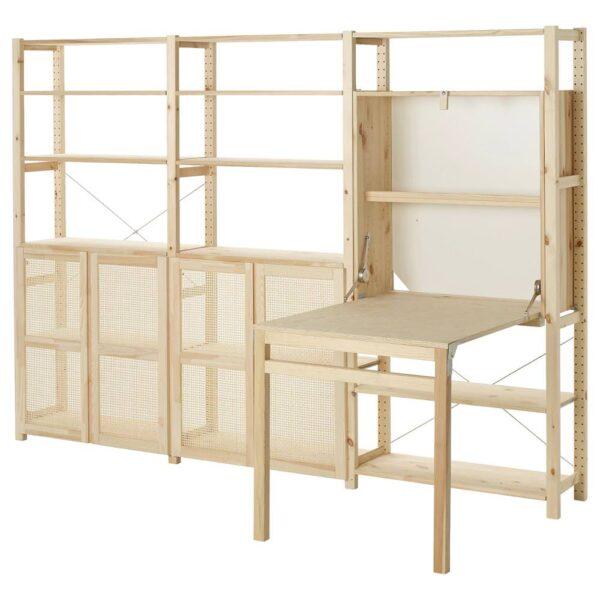 ИВАР 3 секции д/хранения+складной столик, сосна 259x30x179 см - 293.958.12