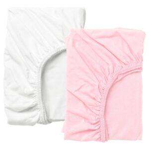 ЛЕН Простыня натяжн для кроватки, белый/розовый 60x120 см - 804.870.83