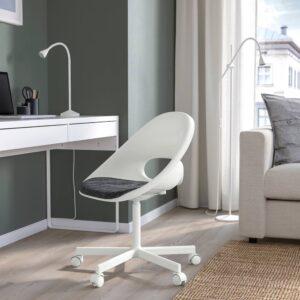 ЛОБЕРГЕТ / БЛИСКЭР Рабочее кресло c подушкой, белый/темно-серый - 793.319.07