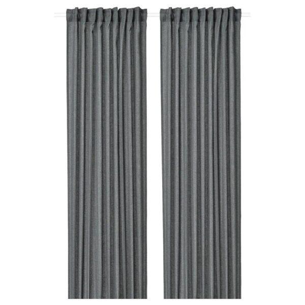 МИЛДРУН Гардины, 1 пара, темно-серый/в полоску 145x300 см - 904.808.06