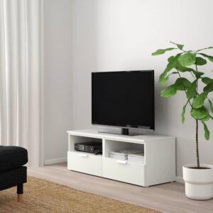 ПЛАТСА Тумба д/ТВ с ящиками, белый/Фоннес белый 120x44x44 см - 393.978.58