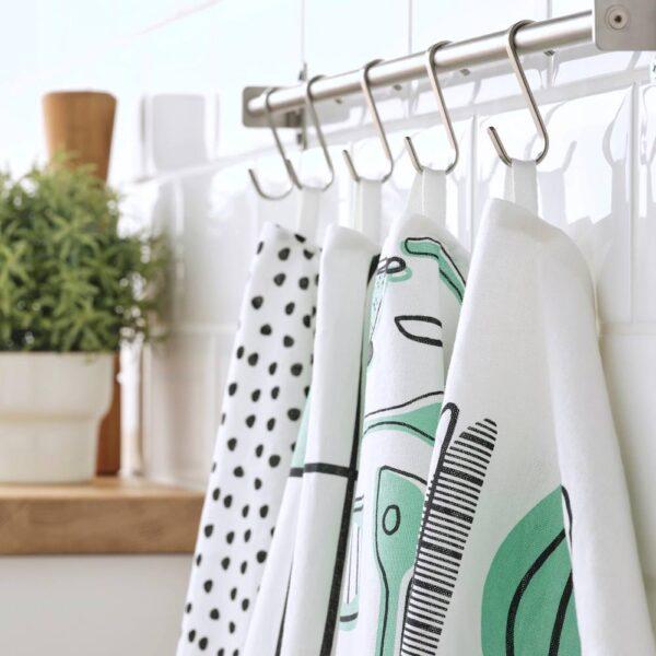 РИННИГ Полотенце кухонное, бел/зелен/с рисунком 45x60 см - 704.763.58