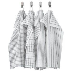 РИННИГ Полотенце кухонное, белый/темно-серый/с рисунком 45x60 см - 604.763.49