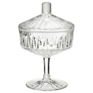 СЭЛЛЬСКАПЛИГ Миска с крышкой, прозрачное стекло/с рисунком 10 см - 404.733.23