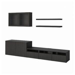 БЕСТО / ЛАКК Шкаф для ТВ, комбинация, черно-коричневый 300x42x195 см - 493.987.39