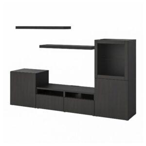 БЕСТО /ЛАКК Шкаф для ТВ, комбинация, черно-коричневый 240x42x129 см - 493.987.44