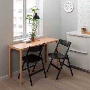 РОВАРОР Стол и 2 складных стула, дубовый шпон/черный 130x45 см - 094.005.55