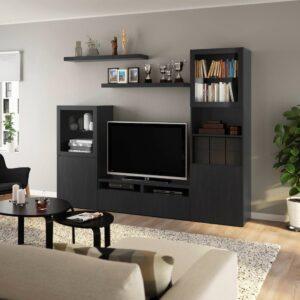 БЕСТО / LACK ЛАКК Шкаф для ТВ, комбинация, черно-коричневый 240x42x193 см - 393.987.49