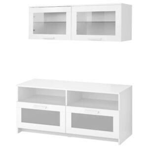 БРИМНЭС Шкаф для ТВ, комбинация, белый 120x41x190 см - 493.968.39