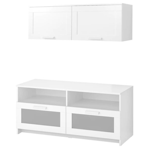БРИМНЭС Шкаф для ТВ, комбинация, белый 120x41x190 см - 593.968.34