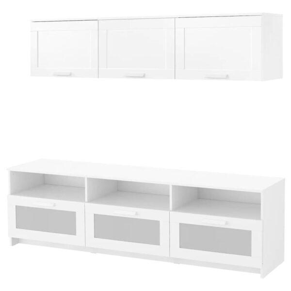 БРИМНЭС Шкаф для ТВ, комбинация, белый 180x41x190 см - 093.968.36