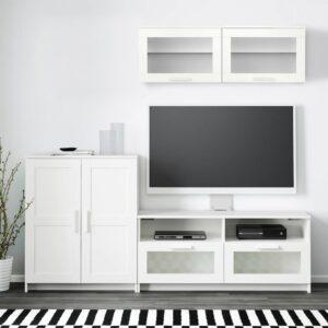 БРИМНЭС Шкаф для ТВ, комбинация, белый 198x41x190 см - 193.968.31