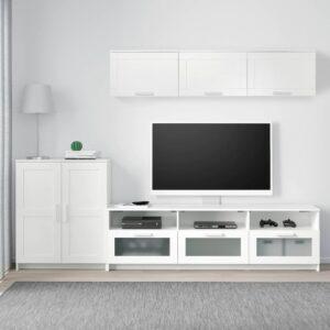 БРИМНЭС Шкаф для ТВ, комбинация, белый 258x41x190 см - 193.967.27
