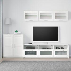 БРИМНЭС Шкаф для ТВ, комбинация, белый 258x41x190 см - 493.967.40