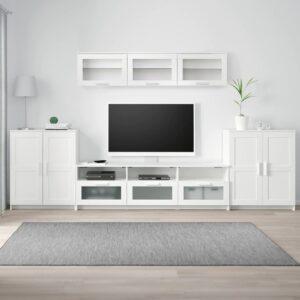 БРИМНЭС Шкаф для ТВ, комбинация, белый 336x41x190 см - 393.978.01