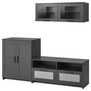 БРИМНЭС Шкаф для ТВ, комбинация, черный 198x41x190 см - 993.968.32
