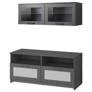 БРИМНЭС Шкаф для ТВ, комбинация, черный 120x41x190 см - 293.968.40
