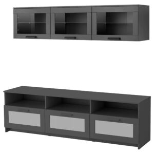БРИМНЭС Шкаф для ТВ, комбинация, черный 180x41x190 см - 293.968.35