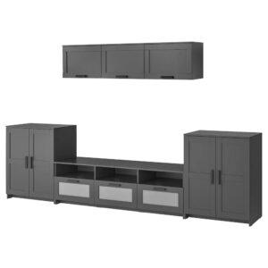 БРИМНЭС Шкаф для ТВ, комбинация, черный 336x41x190 см - 193.978.02