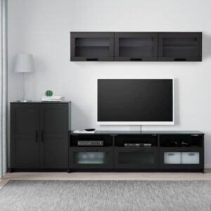 БРИМНЭС Шкаф для ТВ, комбинация, черный 258x41x190 см - 293.967.41