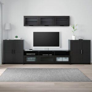 БРИМНЭС Шкаф для ТВ, комбинация, черный 336x41x190 см - 593.978.00
