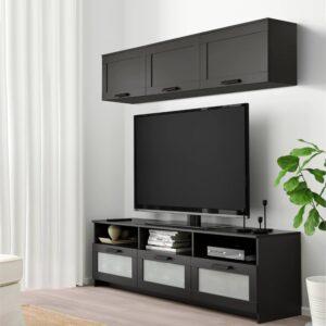 БРИМНЭС Шкаф для ТВ, комбинация, черный 180x41x190 см - 893.968.37