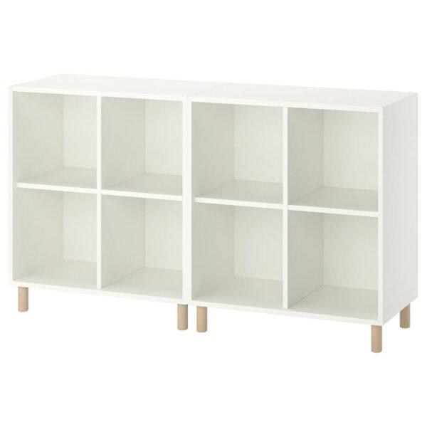 ЭКЕТ Комбинация шкафов с ножками, белый/дерево 140x35x80 см - 493.861.09