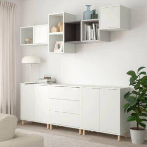 ЭКЕТ Комбинация шкафов с ножками, белый/светло-серый/темно-серый 210x35x210 см - 993.861.35