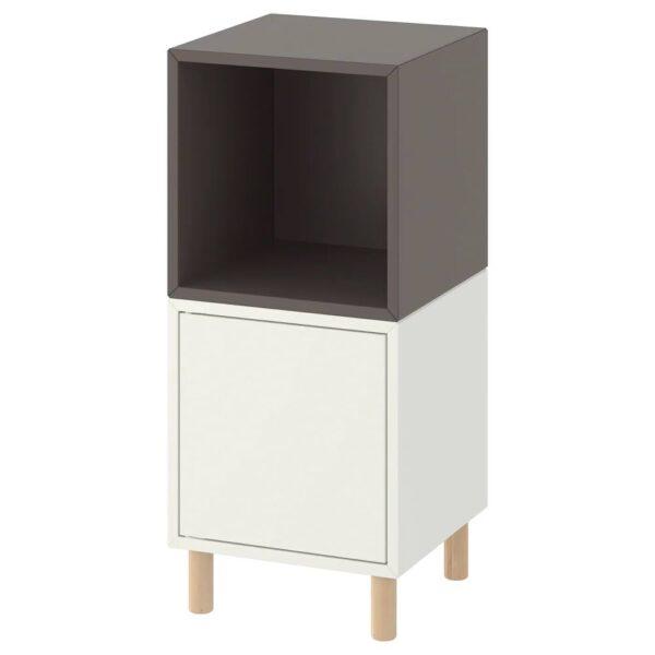 ЭКЕТ Комбинация шкафов с ножками, белый темно-серый/дерево 35x35x80 см - 793.860.80