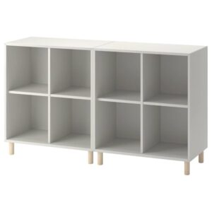 ЭКЕТ Комбинация шкафов с ножками, светло-серый/дерево 140x35x80 см - 093.861.06