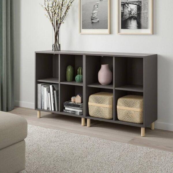 ЭКЕТ Комбинация шкафов с ножками, темно-серый/дерево 140x35x80 см - 793.861.03