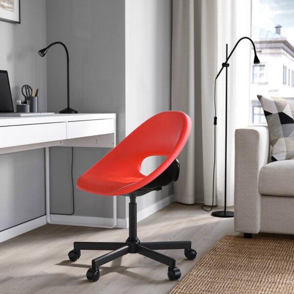 ЭЛДБЕРГЕТ / MALSKAR МАЛЬСКЭР Рабочее кресло c подушкой, красный/черный - 093.319.15