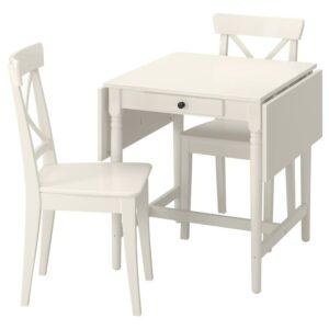 ИНГАТОРП / ИНГОЛЬФ Стол и 2 стула, белый/белый - 494.005.58