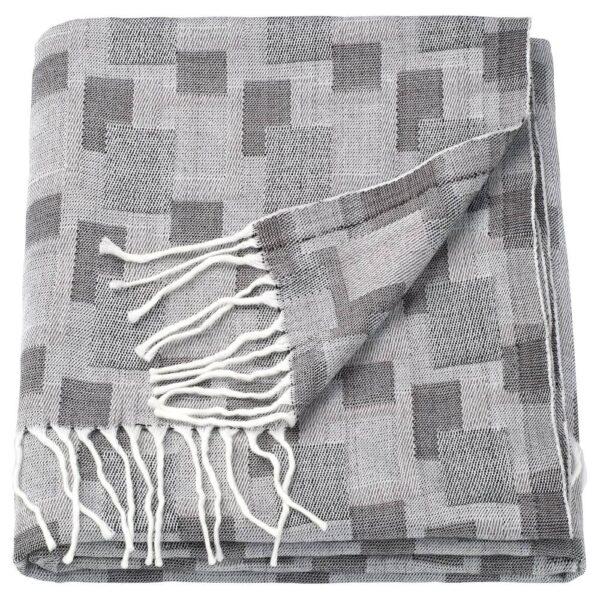 ЛУДДМОЛЛА Плед, серый/белый 130x170 см - 504.955.17