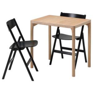 РОВАРОР Стол и 2 складных стула, дубовый шпон/черный 60x78 см - 694.005.38
