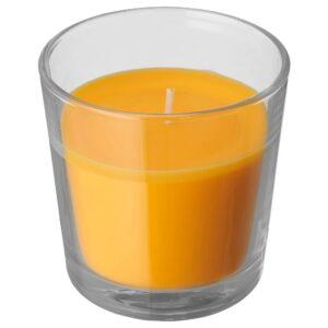 СИНЛИГ Ароматическая свеча в стакане, Манго/желтый 7.5 см - 904.938.80
