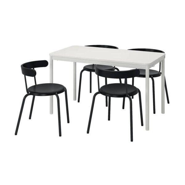 ТОММАРЮД /ИНГВАР Стол и 4 стула, белый/антрацит 130x70 см - 793.901.24