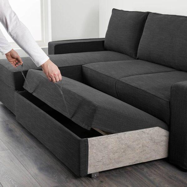 ВИЛАСУНД Диван-кровать с козеткой, Хили темно-серый - 604.853.77