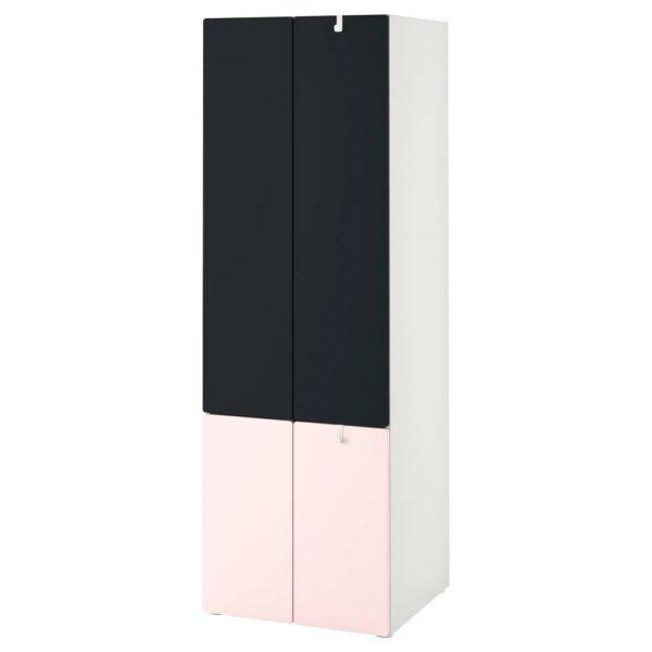 СМОСТАД / ОПХУС Гардероб, бледно-розовый поверхность доски для записей/с платяной штангой с 1 полкой 60x55x180 см - 593.986.87
