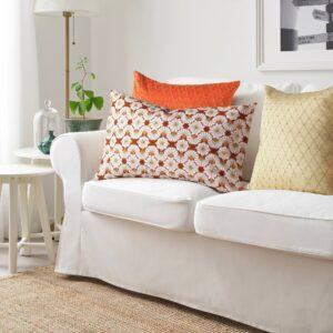 ЛЬЮВАРЕ Чехол на подушку, с цветочным орнаментом оранжевый/бежевый 40x65 см - 004.921.06