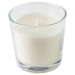 ЛЬЮВАРЕ Ароматическая свеча в стакане, Агаровое дерево/светло-бежевый 7.5 см - 304.921.19